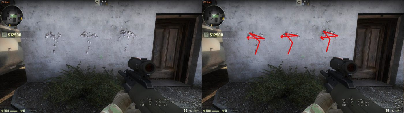 Counter-Strike: Global Offensive Weapon Recoil Patterns and Hitbox