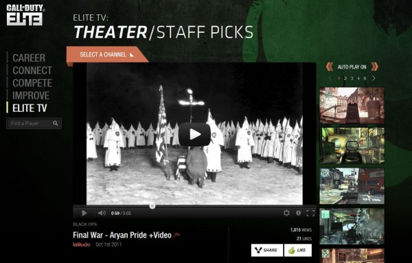 , Extremely Racist Video Sneaks Into CoD: Elite TV Theater Staff Picks, MP1st, MP1st
