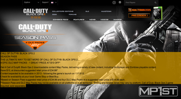 , Call of Duty UK Website Reveals Black Ops 2 Season Pass, MP1st, MP1st