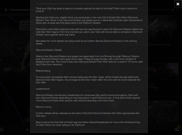 , Call of Duty: Ghosts To Introduce New Diamond Division in February, Next Clan War Dated, MP1st, MP1st