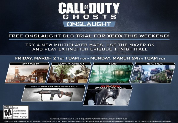 , Call of Duty: Ghosts Onslaught DLC Trial Coming to Xbox Live This Weekend, MP1st, MP1st
