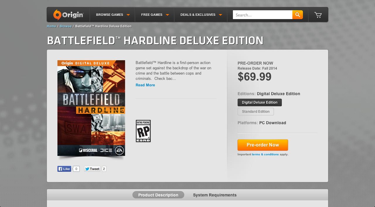 Battlefield Hardline Now Up For Pre-Order on Origin and