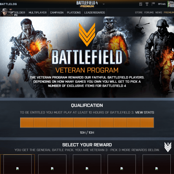 , Report – New Battlefield Veteran Program Rewards Players With 10 Hours of BF3 Played [Updated], MP1st, MP1st
