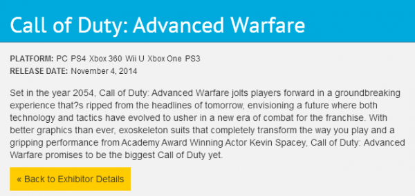 , Call of Duty: Advanced Warfare Wii U Listing Spotted on Official E3 Page, MP1st, MP1st