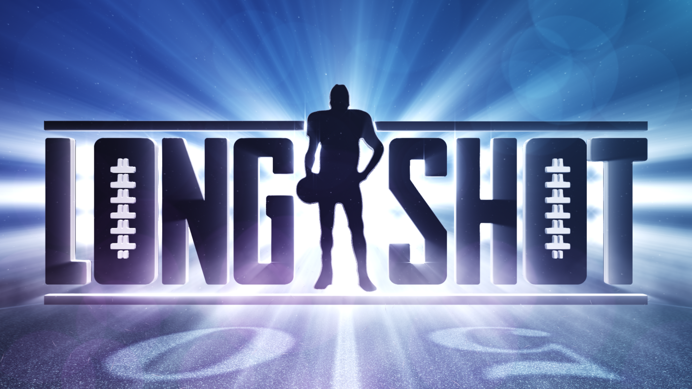 Image of Longshot story mode logo for Madden NFL 18, the image has light protruding from behind the dark letters, with a man standing between the words long and shot