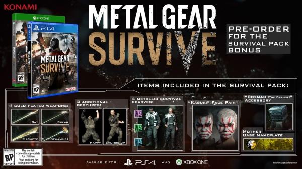 metal gear survive pre order bonuses