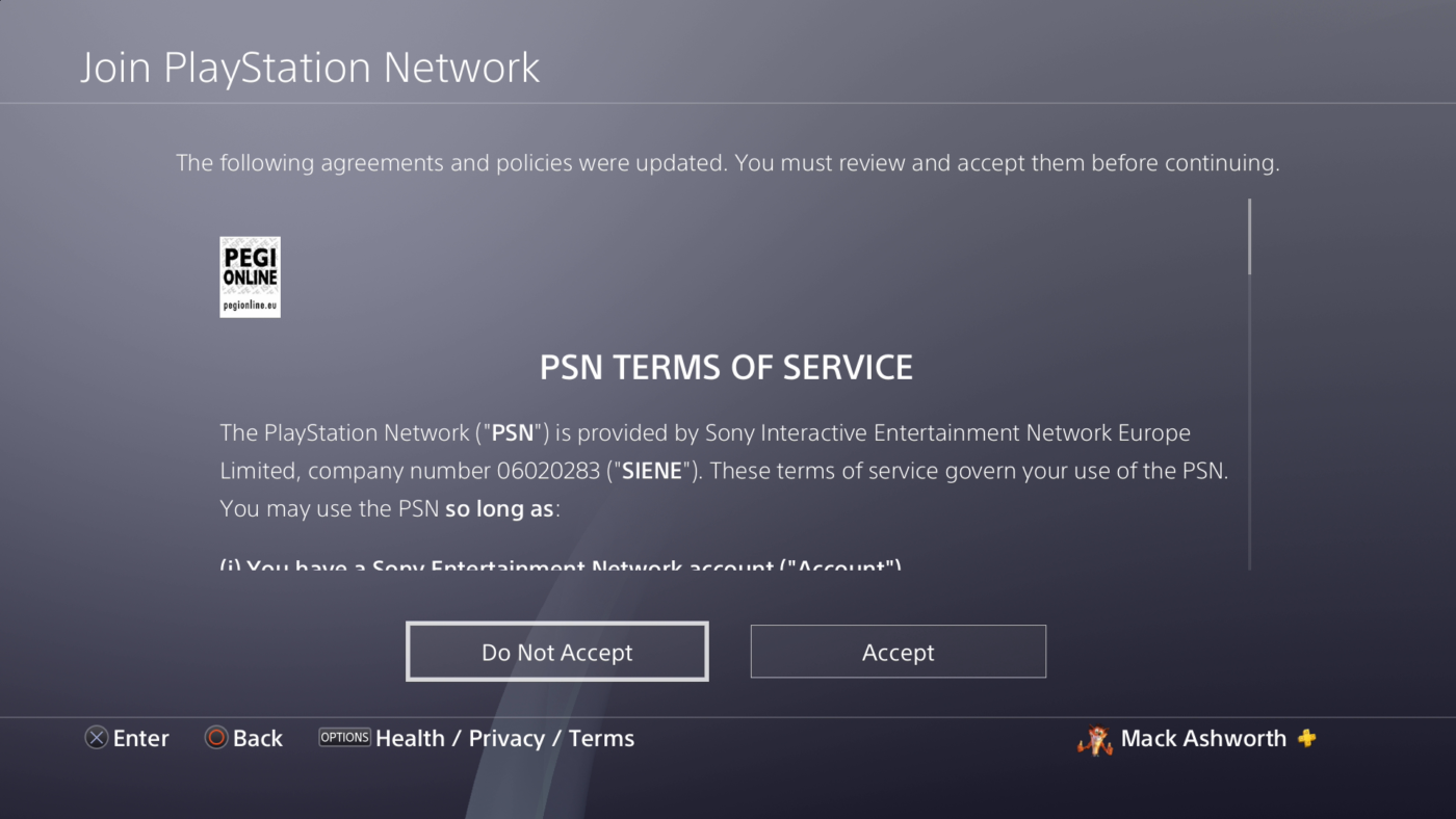 PSN Sign in Failed Due to New Terms of Service