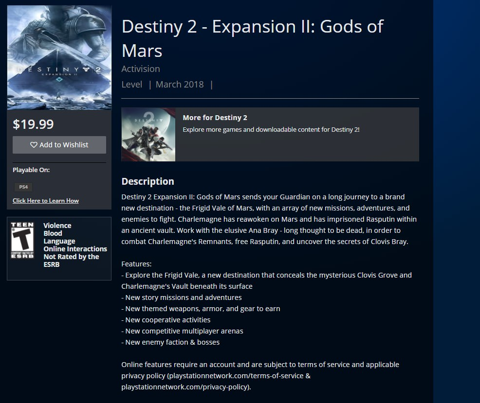 """Rumor: Destiny 2 Second Expansion to Be Called"""" God of Mars,"""" More Details Allegedly Leaked"""
