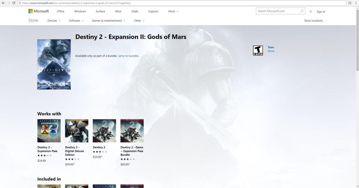 Rumor: Destiny 2 Gods of Mars Expansion II Details Leaked on Xbox Store