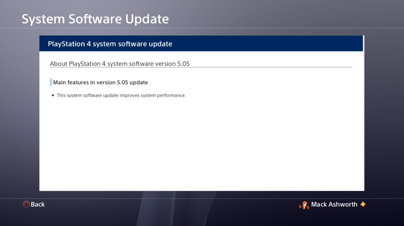 PS4 Update 5.05 Is Live, Helps