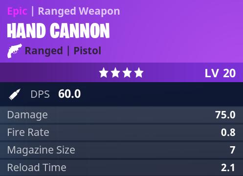 fortnite hand cannon stats