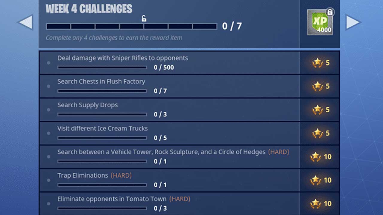 Fortnite Season 3 Week 4 Challenges