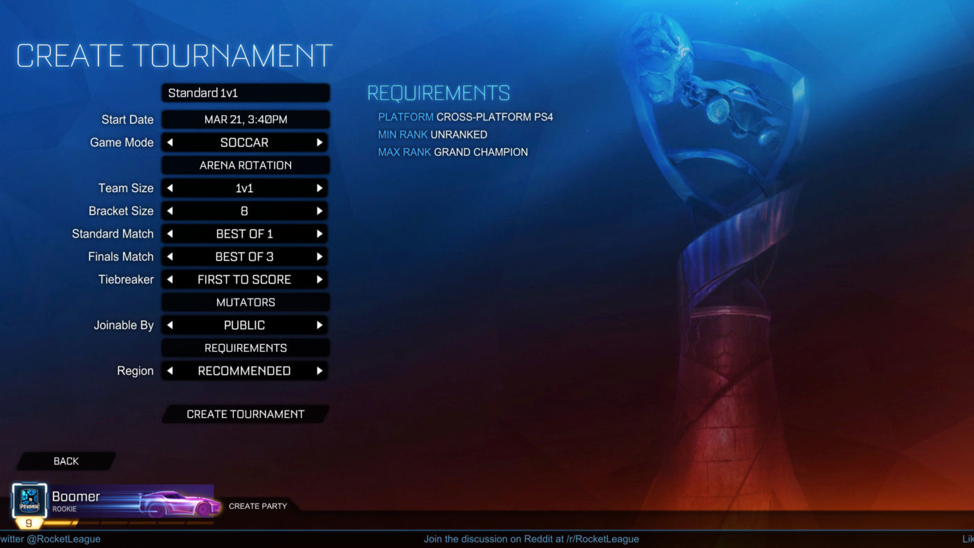 rocket league tournament update