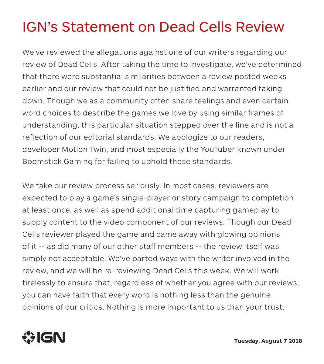 [Update] IGN Removes Dead Cells Review After Accusations of Plagiarism