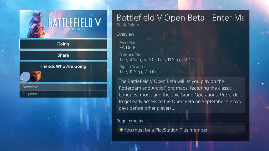 Battlefield V Beta End Date & Time Revealed, PS Plus Membership Required