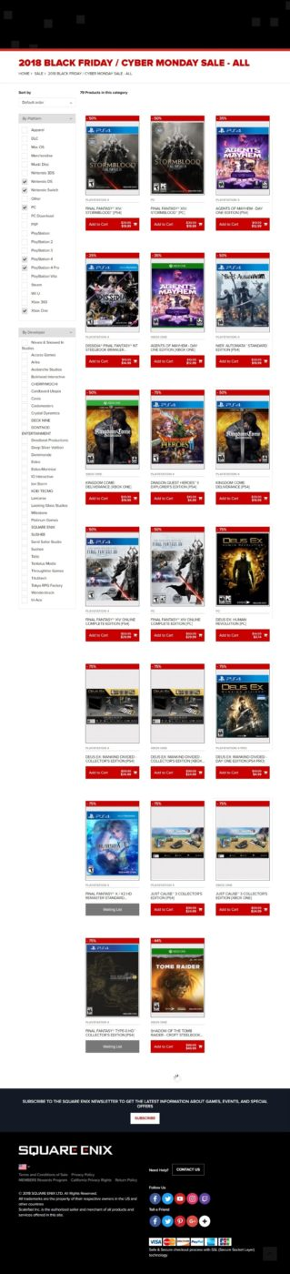 square enix black friday sale, Square Enix Black Friday and Cyber Monday Sale Revealed, Includes Games & Merchandise, MP1st, MP1st