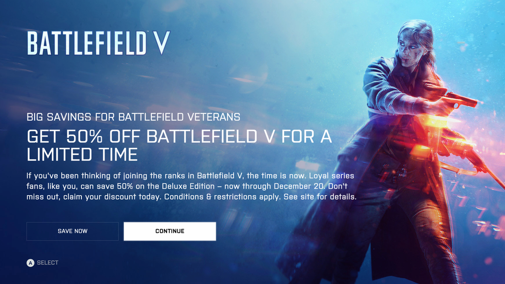 Battlefield 5 Discounted by 50% Off for BF1, BF4 Owners, Community