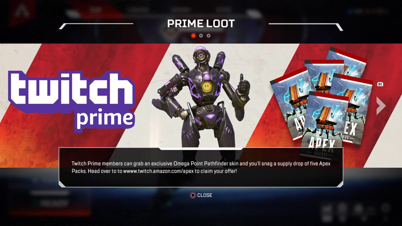Apex Legends Twitch Prime Members Can Snag a Skin for Pathfinder and 5 Apex Packs Right Now, Apex Legends Twitch Prime Members Can Snag a Skin for Pathfinder and 5 Apex Packs Right Now, MP1st, MP1st