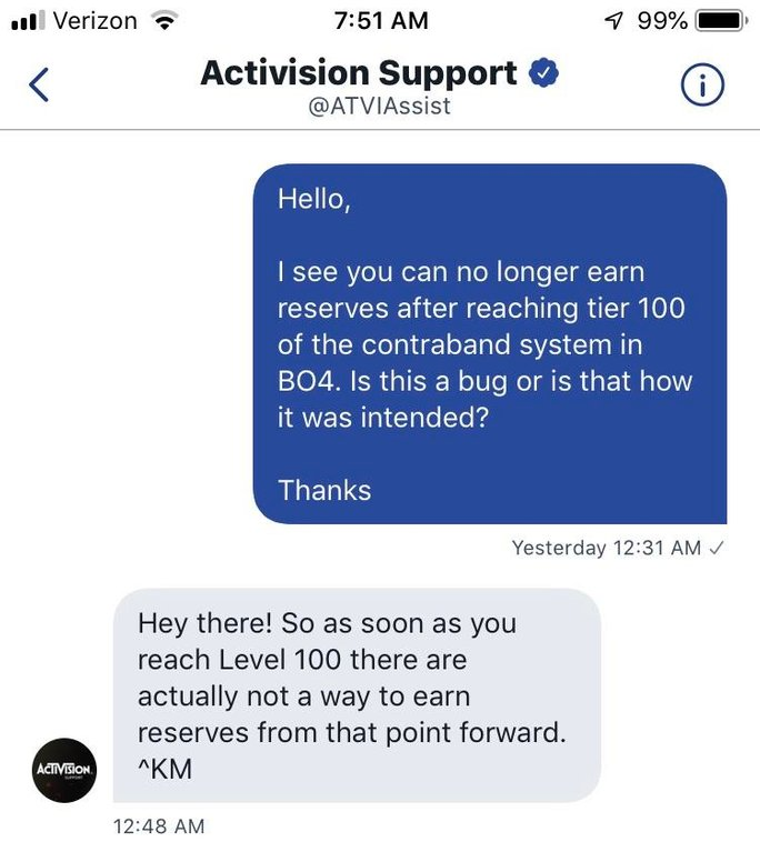 black ops 4 reserves, Call of Duty: Black Ops 4 Players Can't Earn Reserves/Tiers After Hitting Tier 100, MP1st, MP1st
