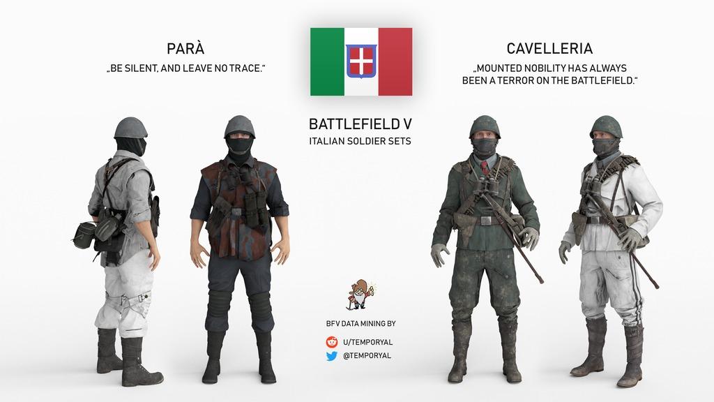 battlefield 5 italian soldier skins