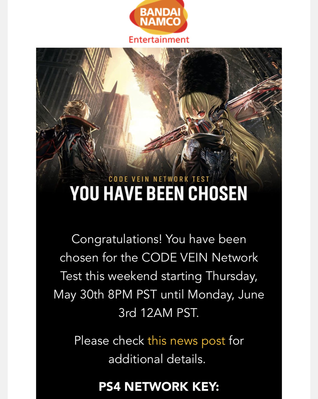 code vein network test invites, Code Vein Network Test Invites Are Now Being Sent Out, Behind the Scenes Vid Released, MP1st, MP1st