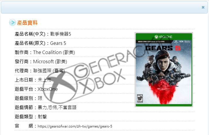 Generacion Xbox discovered the Taiwanese listing