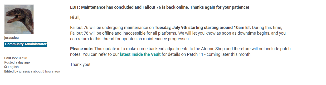 fallout 76 update 1.22 patch notes, Fallout 76 Update 1.22 Patch Notes, File Sizes and More Revealed, MP1st, MP1st