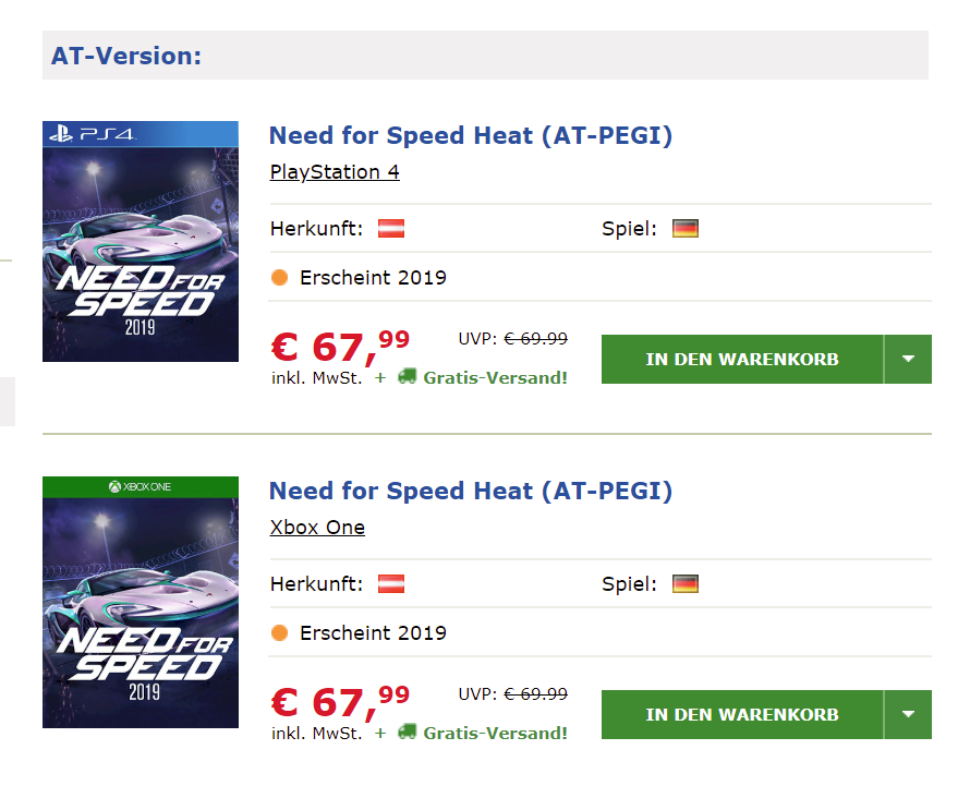 """need for speed 2019, Report: Need for Speed 2019 Outed by Austrian Store to Be Titled """"Need for Speed Heat"""" and Launches This Year, MP1st, MP1st"""