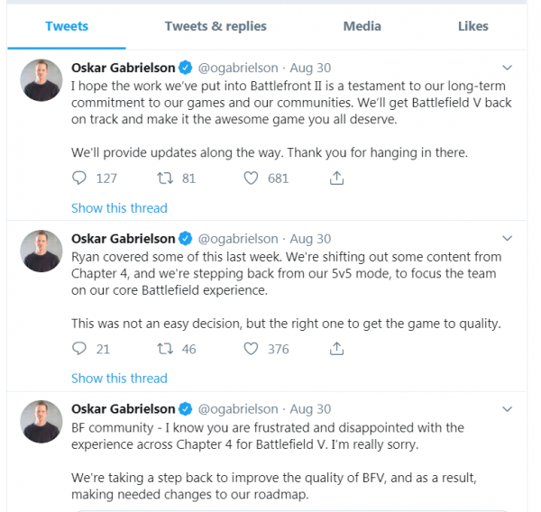battlefield 5, DICE GM Apologizes for Battlefield 5 Content Shortcomings, Cites Battlefront 2 as Example of Studio's Commitment, MP1st, MP1st