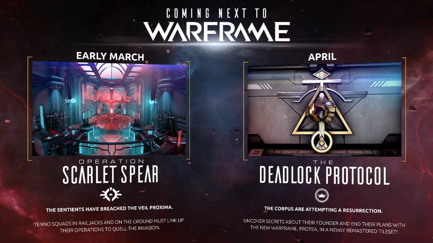 Warframe Squad Link, Warframe Squad Link Feature Coming in March, Deadlock Protocol Releasing in April, MP1st, MP1st