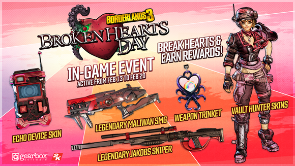 borderlands 3 update today, Borderlands 3 Update Today Brings Broken Hearts Event, Level Cap Increase & More, MP1st, MP1st