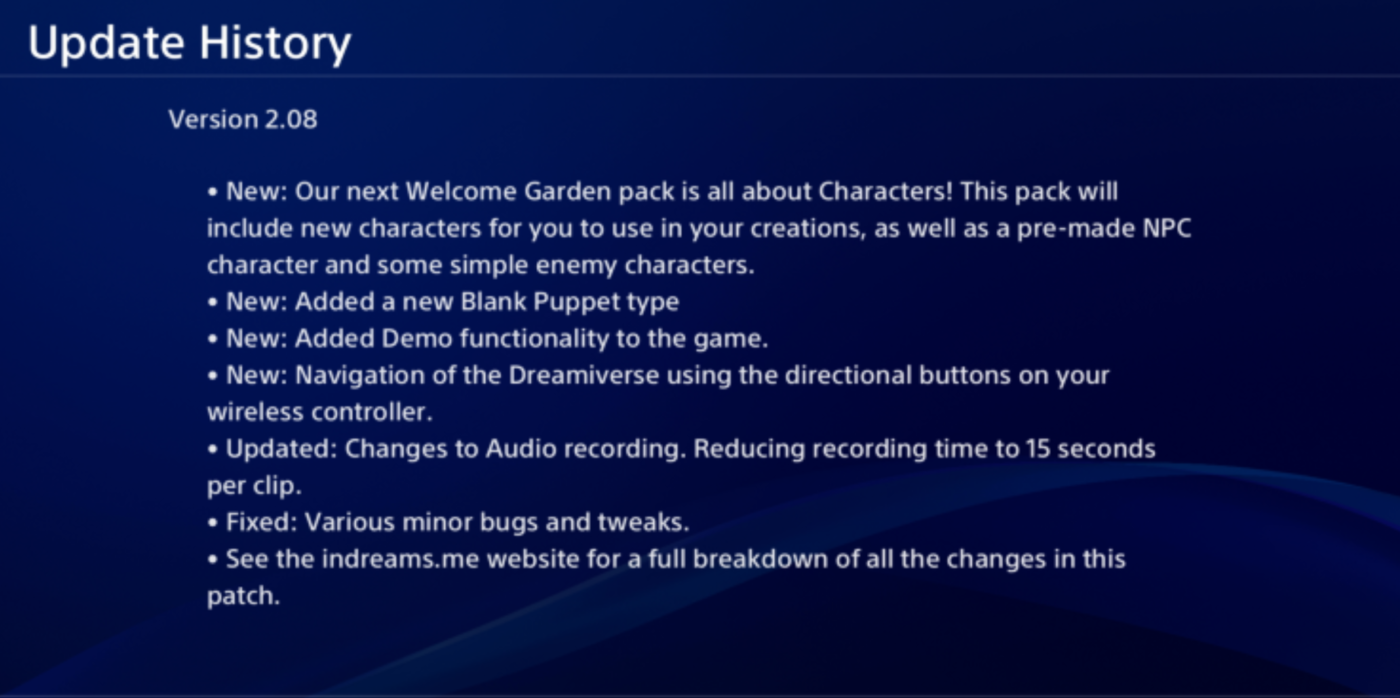 dreams update 2.08, Dreams Update 2.08 Now Out, Here's Everything Added, MP1st, MP1st