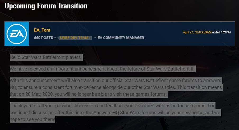 battlefront 2 next content update, Star Wars Battlefront 2 Next Content Update to Be Its Last, Forums Shutting Down, MP1st, MP1st