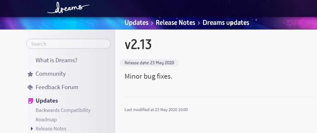 dreams update 2.13 may 23, Dreams Update 2.13 May 23 Released, MP1st, MP1st