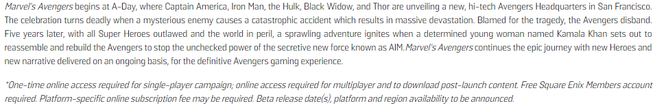 """marvel's avengers, Marvel's Avengers Requires """"One-Time Online Access,"""" Even for Single-Player, MP1st, MP1st"""