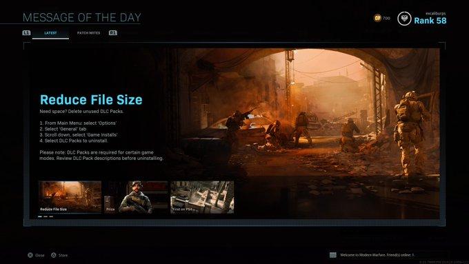 reduce modern warfare file size, Infinity Ward Posts Tutorial on How to Reduce Modern Warfare File Size on PS4, MP1st, MP1st