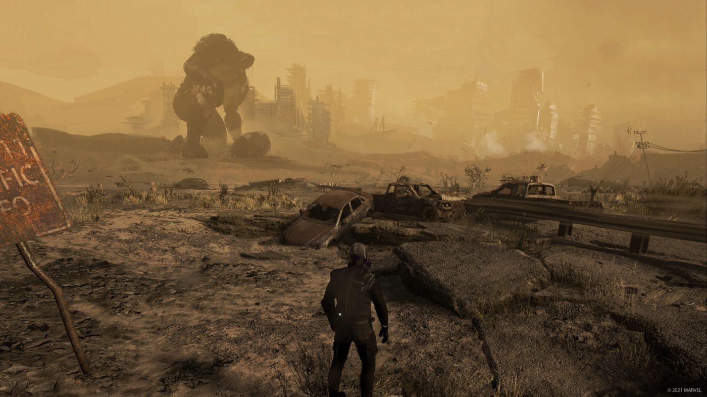 Marvel's Avengers Hawkeye DLC early wasteland art