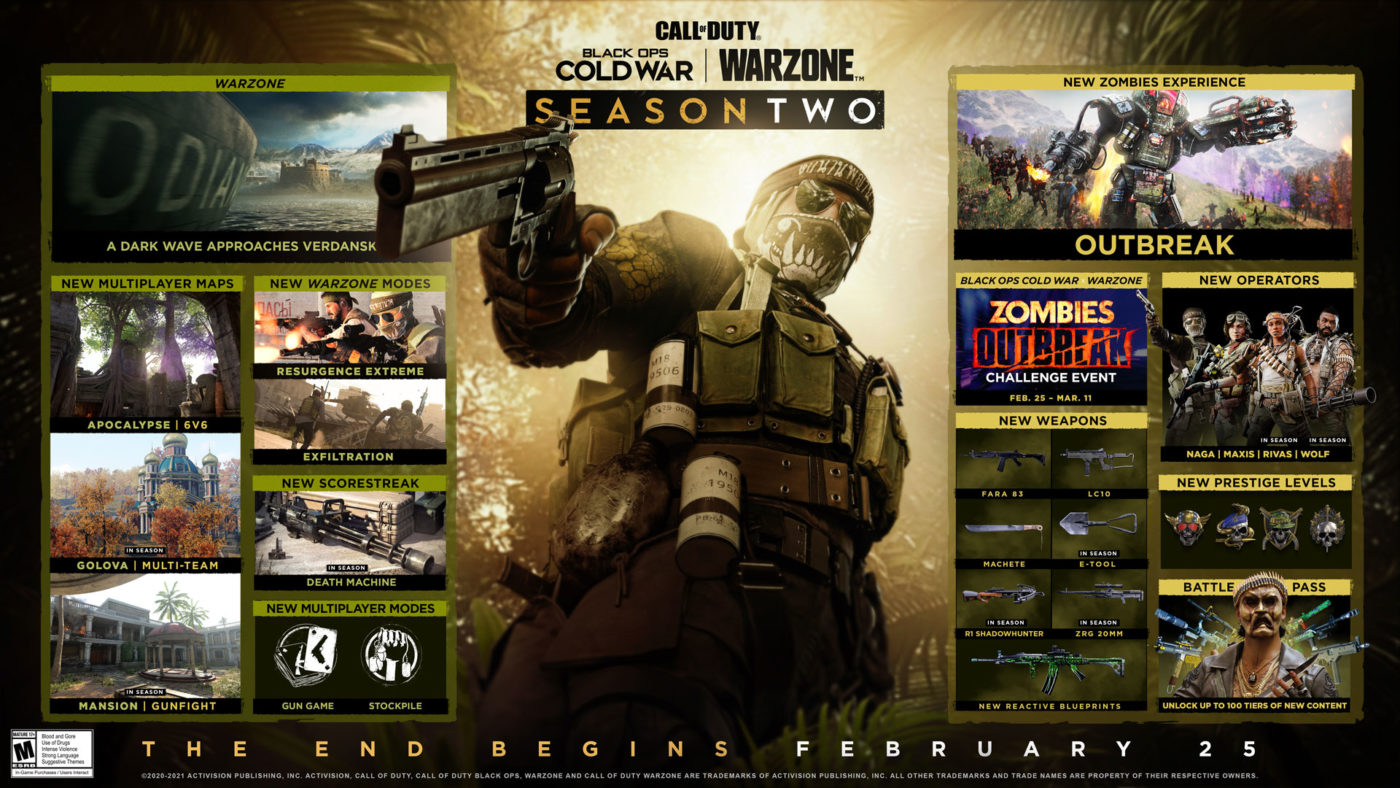 Black Ops Cold War & Warzone Season 2 Calendar