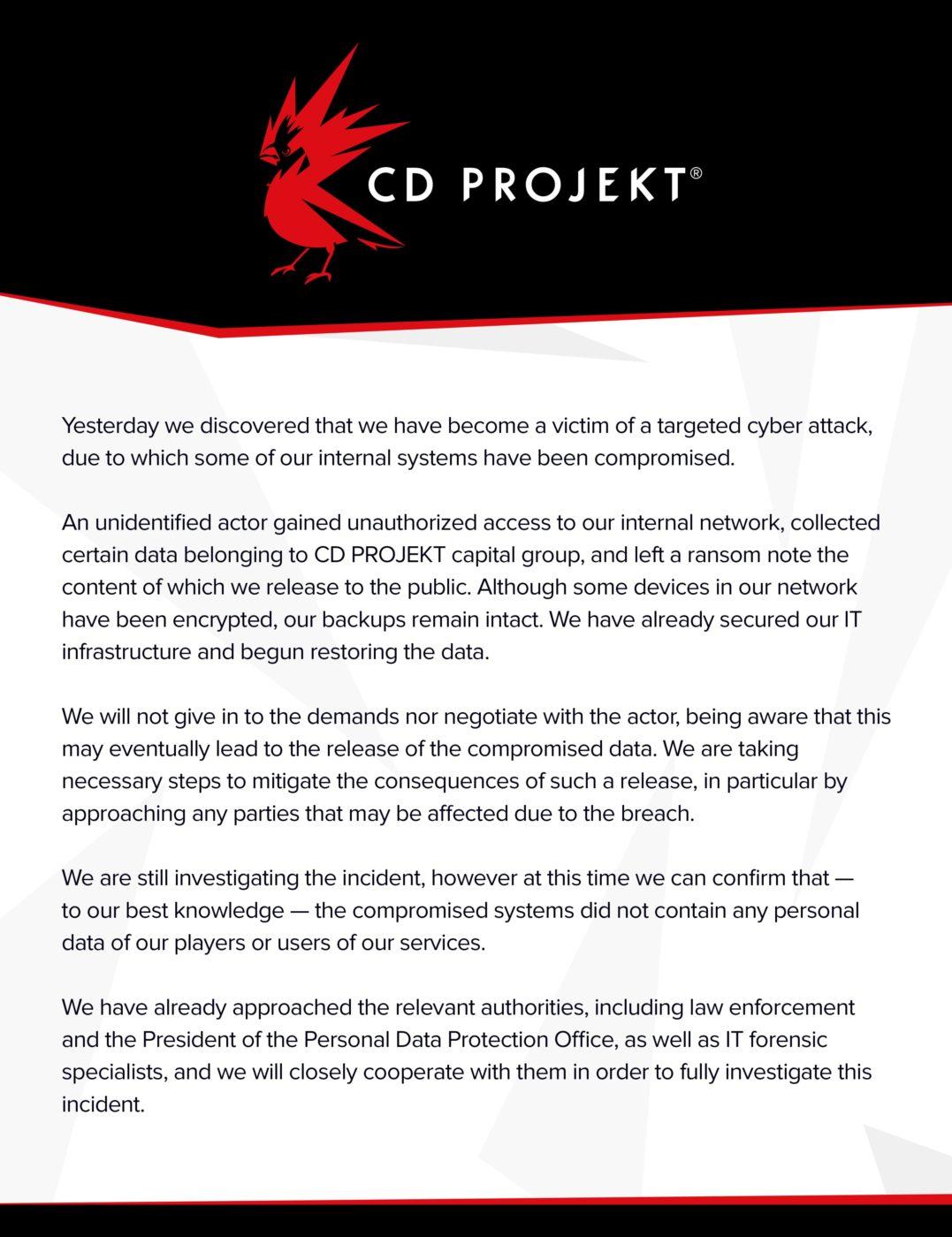 CD Projekt RED Hacked, Ransom Demanded - MP1st