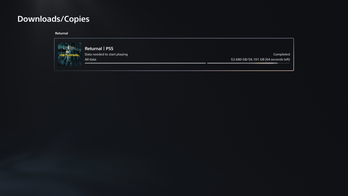 Returnal PS5 File Size
