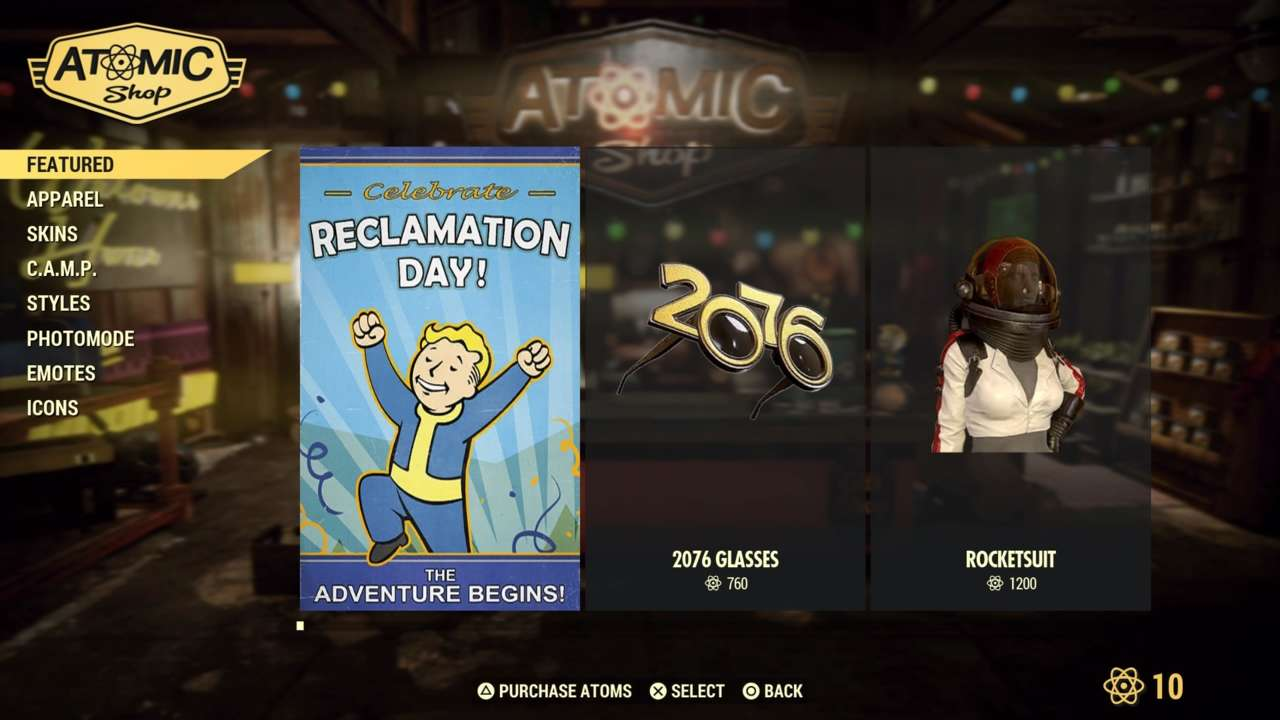 Fallout 76 Atomic Shop Weekly Update