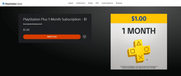 Sony Offering $1 for 1 Month of PlayStation Plus Subscription for a Limited Time